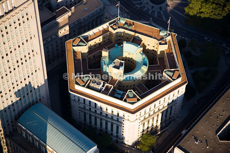 The hexagonal New York County Courthouse was modeled after a Corinthian temple, with a circular center linked to each of the ...