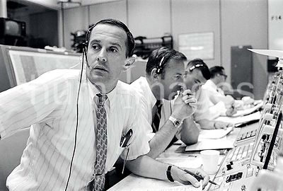 Black and white photo of NASA mission control (unknown if Florida or Houston)