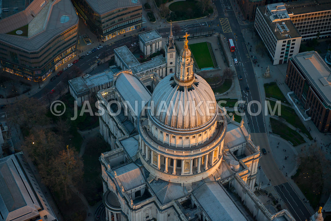 Aerial view of St Pauls Cathedral at dusk, London