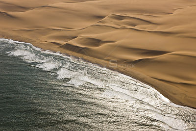 Aerial view of sand dunes and atlantic coast, near Swakopmund, Namib desert, Namibia, August 2008