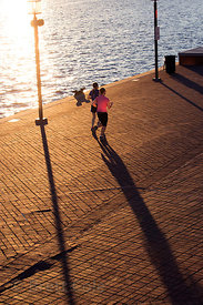 Pedestrians on the Inner Harbor, Baltimore, Maryland