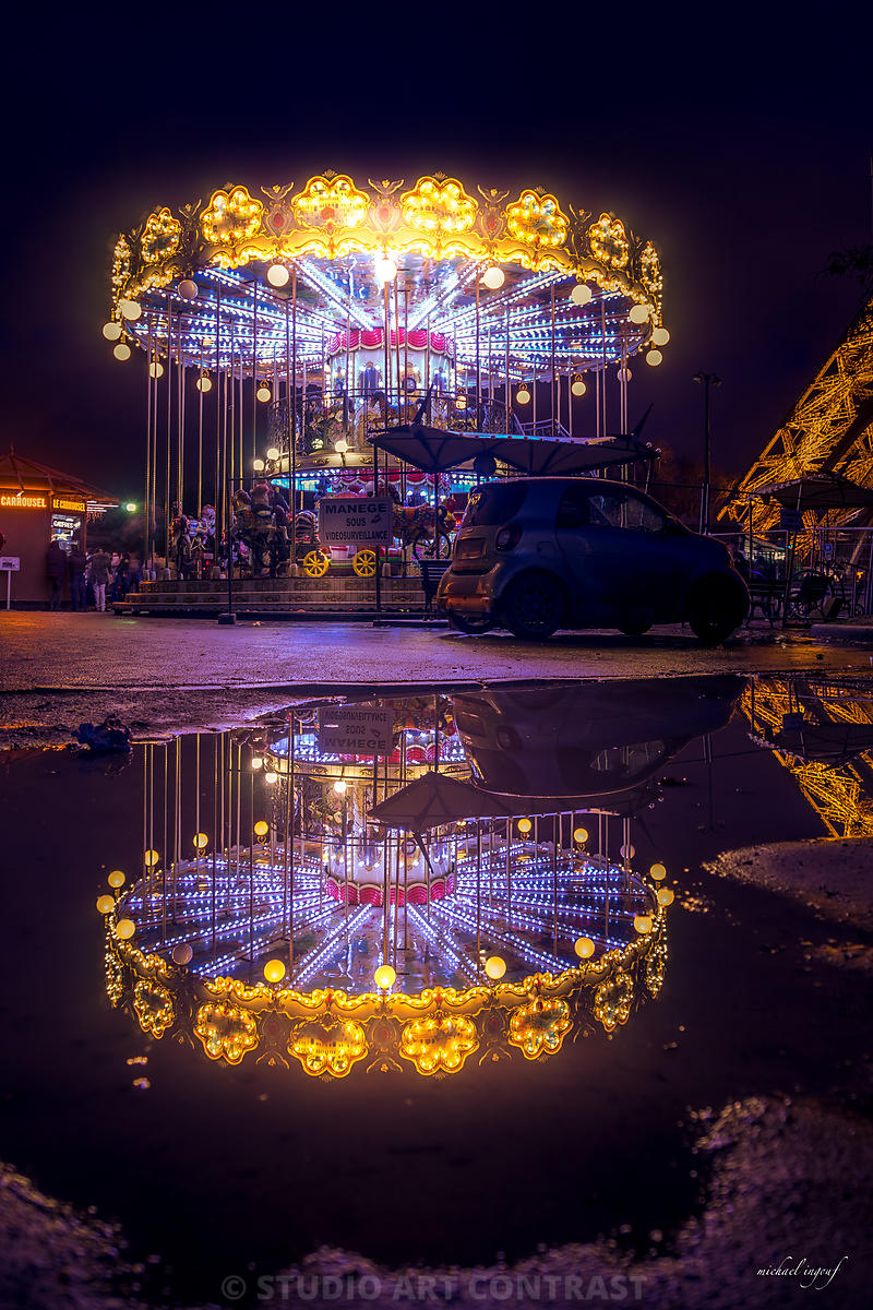 tour_eiffel_manège_puddle_caroussel_trocadero_night