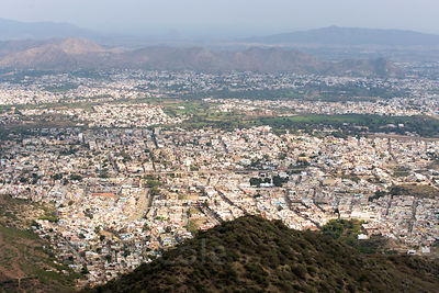 Ajmer city from Taragarh Fort, Rajasthan, India