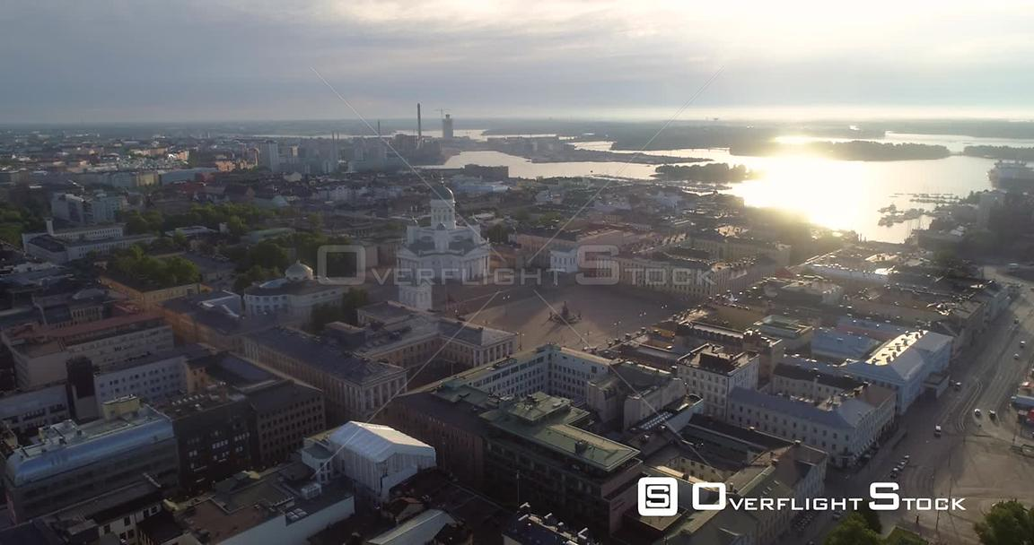 Helsinki Cathedral, Aerial Sideway View of the Cityscape and the Church, on a Sunny Summer Morning Dawn, in Helsingfors, Uusi...