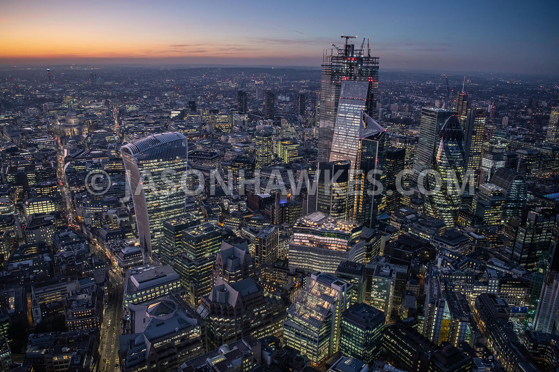 Dusk aerial view of the City of London.