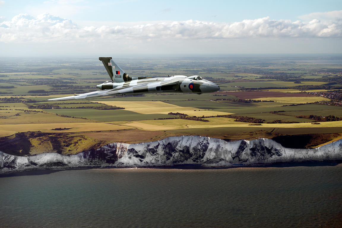 Avro Vulcan over the white cliffs of Dover