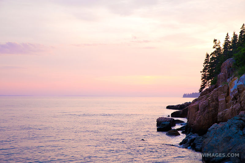 MAINE COAST AFTER SUNSET ACADIA NATIONAL PARK