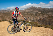 Mountain biking, Swartberg Pass over the Swartberg Mountains, Oudtshoorn, South Africa