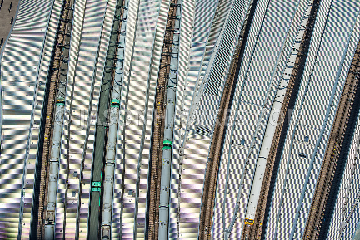 Aerial view of trains and platform at London Bridge, London.  Platform. Train Station. Train tracks. Commuting.
