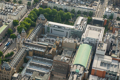 Aerial view of The Natural History Museum and Science Museum, London