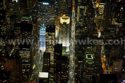 Night aerial view looking down onto The Helmsley Building at 230 Park Avenue on the left and 383 Madison Avenue on the right ...