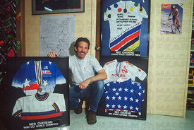 NED OVEREND WITH TITLE JERSEYS AT THE OUTDOORSMAN DURANGO COLORADO USA 1991
