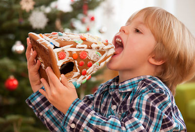 boy eating gingerbread house