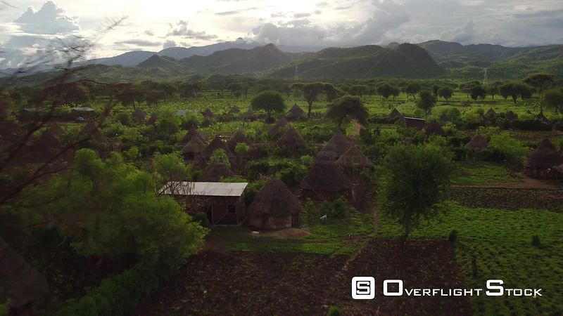Drone Video Lush Hillside farming and village Ethiopia