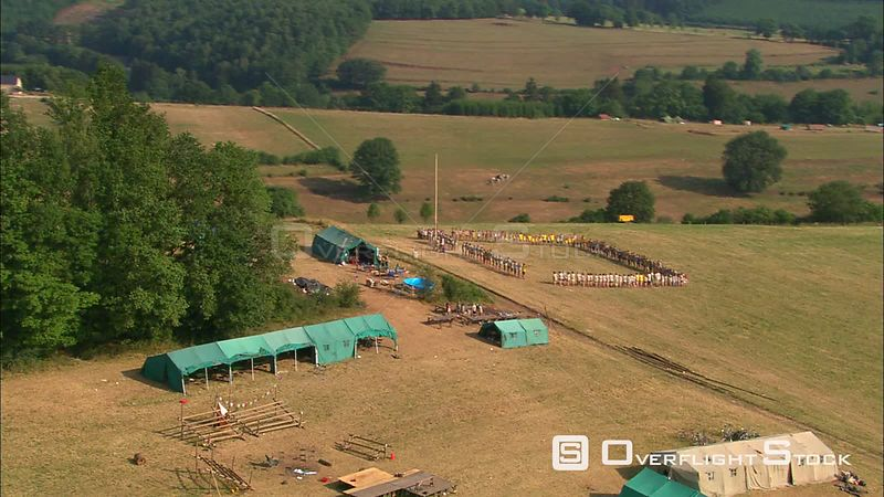 Flying over a young people's summer camp at TroisPonts, Belgium