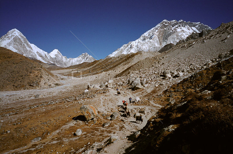 NEPAL Khumbu Glacier -- Dec 2005 -- Near the snout of the Khumbu Glacier, a popular climbing route to the summit of Mount Eve...