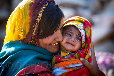 Mother and baby from the Cheeta cast, Kharekhari village, Rajasthan, India.