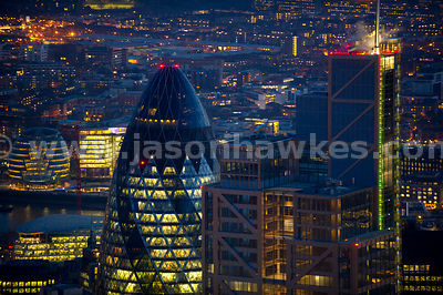 Aerial view of Heron Tower and Swiss Re Tower