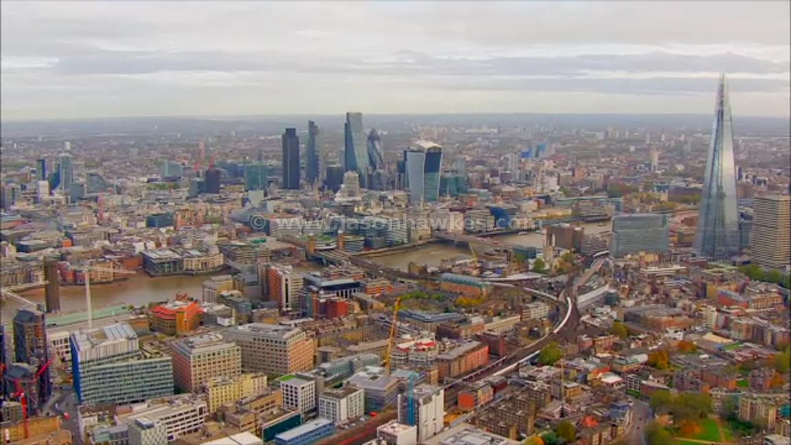 Aerial footage of Borough and The City, London
