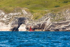 Drascombe Lugger passing Durdle Door, 201707070363