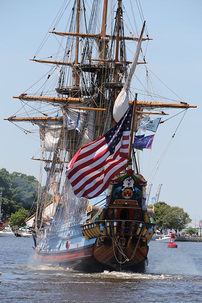 front_of_old_ship_american_flag_harborfest