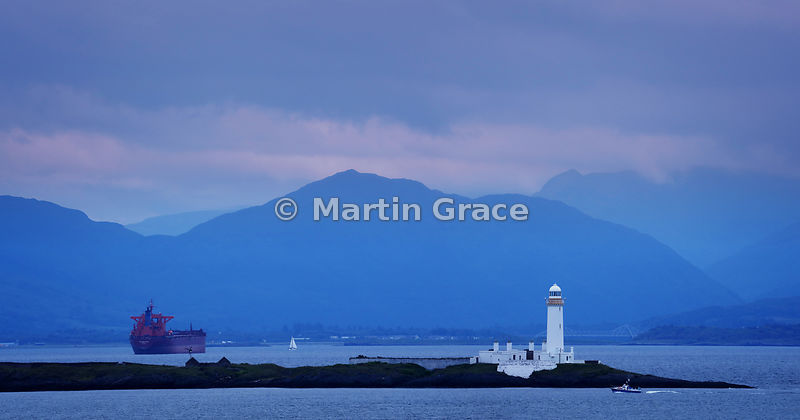 Lismore Lighthouse at twilight, Eilean Musdile off Lismore Island, Firth of Lorne, Argyll & Bute, Scotland