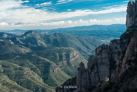 View of the Montserrat rocky range in Barcelona, Spain