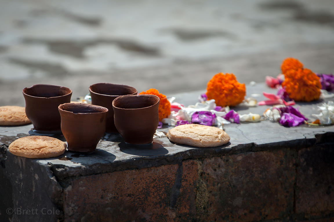 Prayer implements at the Burning Ghat (crematorium), Kolkata, India.