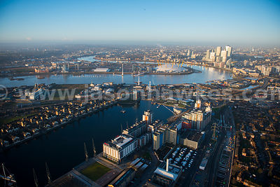Aerial view of the Royal Docks and Greenwich Peninsula, London