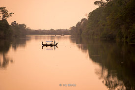 Boats on the Siem Reap River near Angkor Thom