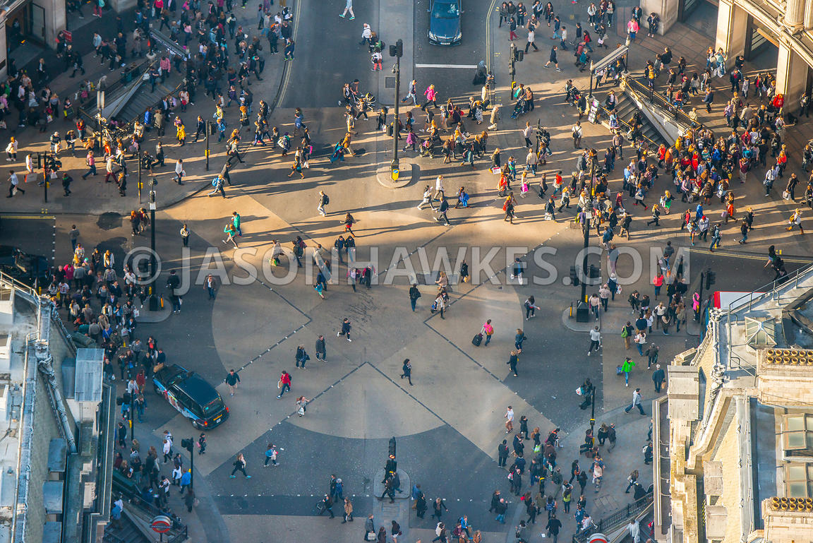 Close-up aerial view of people and shoppers in Oxford Circus