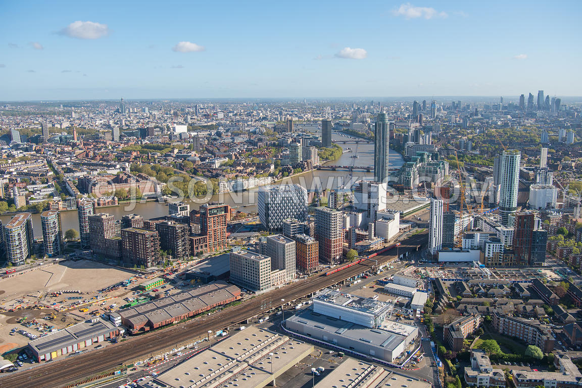 Aerial view of Battersea and Nine Elms, London