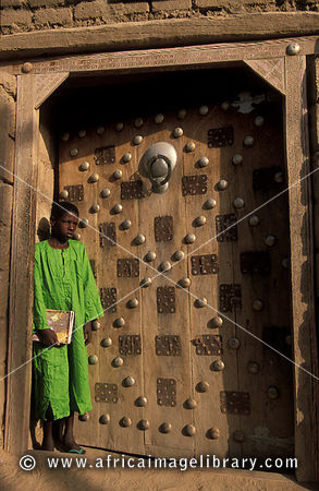 Former house of explorer René Caillié, traditional Moroccan style door, Timbuktu, Mali
