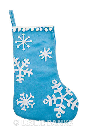 Blue snowflake Christmas stocking