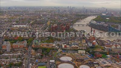 Aerial footage of Chelsea and Battersea, London