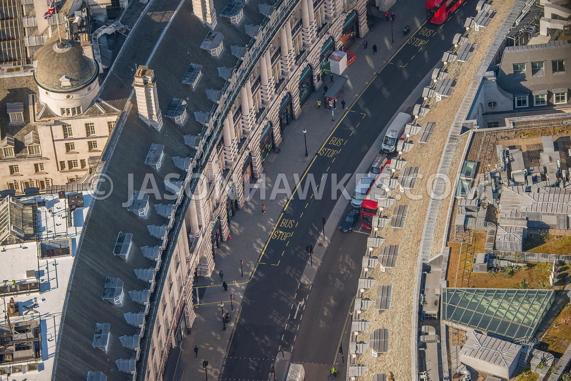 Aerial view of London, Regent Street near Piccadilly Circus