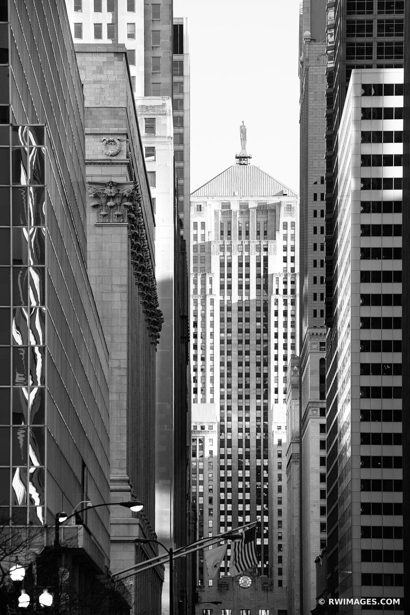 LA SALLE STREET URBAN CANYON CHICAGO BOARD OF TRADE BUILDING CHICAGO ILLINOIS BLACK AND WHITE VERTICAL