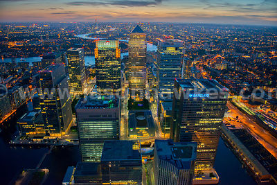 Aerial view of Canary Wharf at night, London