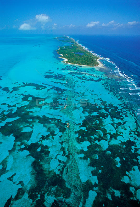 Aerial view of Contoy Island from the south, Contoy Island National Park, Mesoamerican Reef System, near Cancun, Caribbean Se...