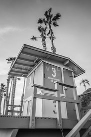 San Clemente Lifeguard Tower 3 Black and White Photo