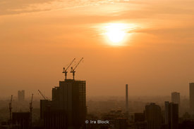 Morning view of a construction site in Shinagawa, Tokyo, Japan.