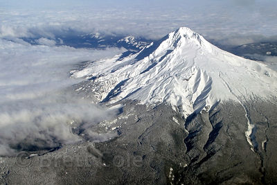 Mount Hood, highest peak in Oregon, from an airplane over Portland.