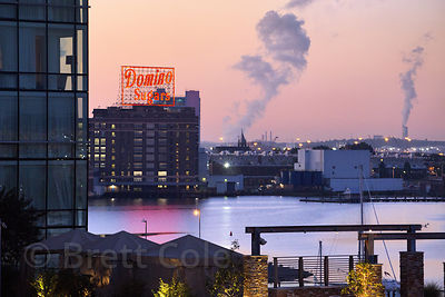 Aerial view of the famous Domino Sugar factory at dusk, Baltimore, Maryland