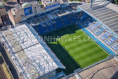 Aerial view of London Stamford Bridge Stadium