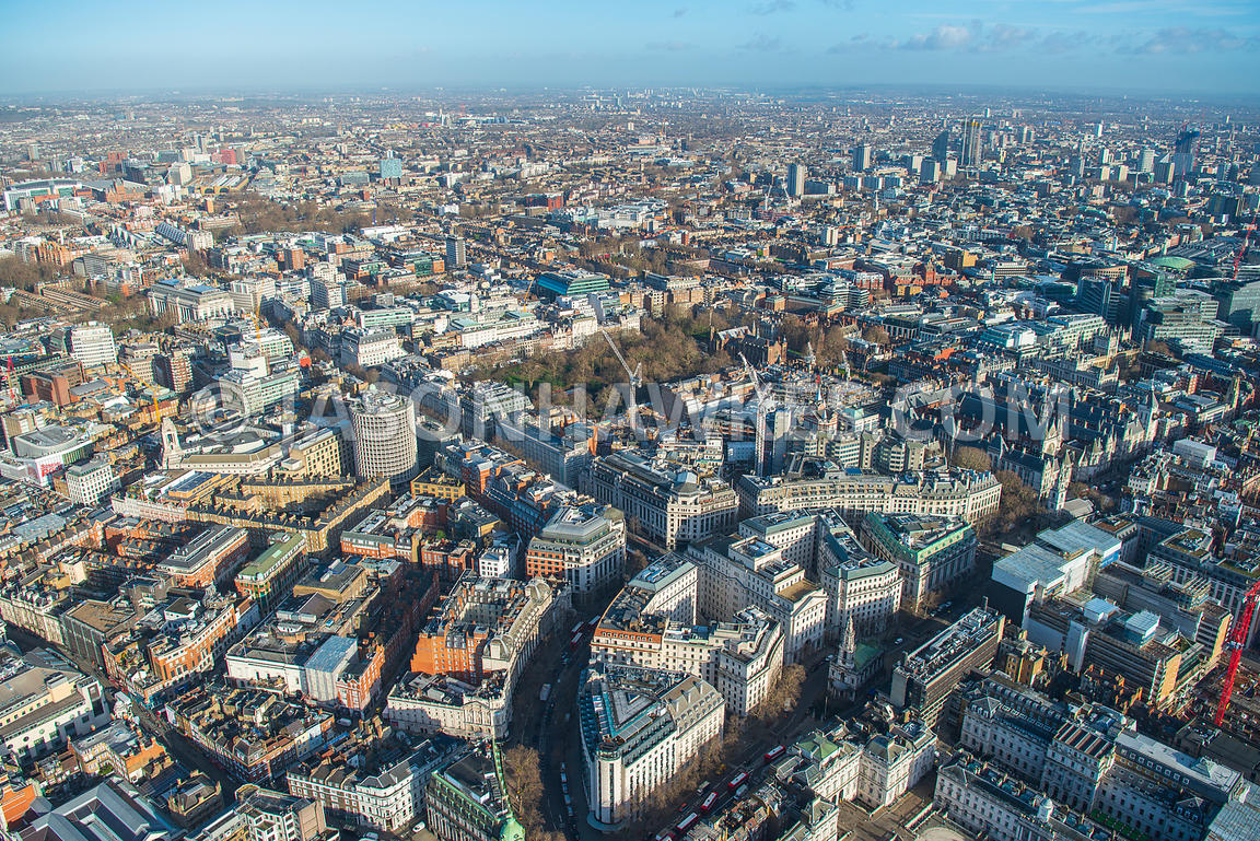 Aerial view of London, Strand towards Lincoln's Inn Field.