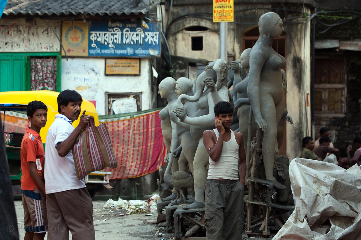 Durga Puja idols being made in Kumartoli (Potter's Town), Kolkata, India.