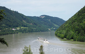 The majestic Danube river curving through Austria.