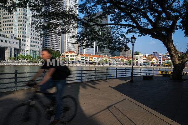 The Civic District, fringed by green canopies and offering a soothing view of the Singapore River, offers an idyllic cycling ...