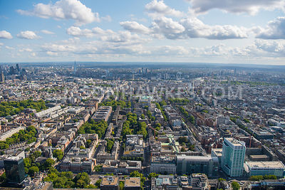 Aerial view of University College London, Bloomsbury, Fitzrovia, Fitzroy Square Garden, Gordon Square, Tavistock Square, Russ...