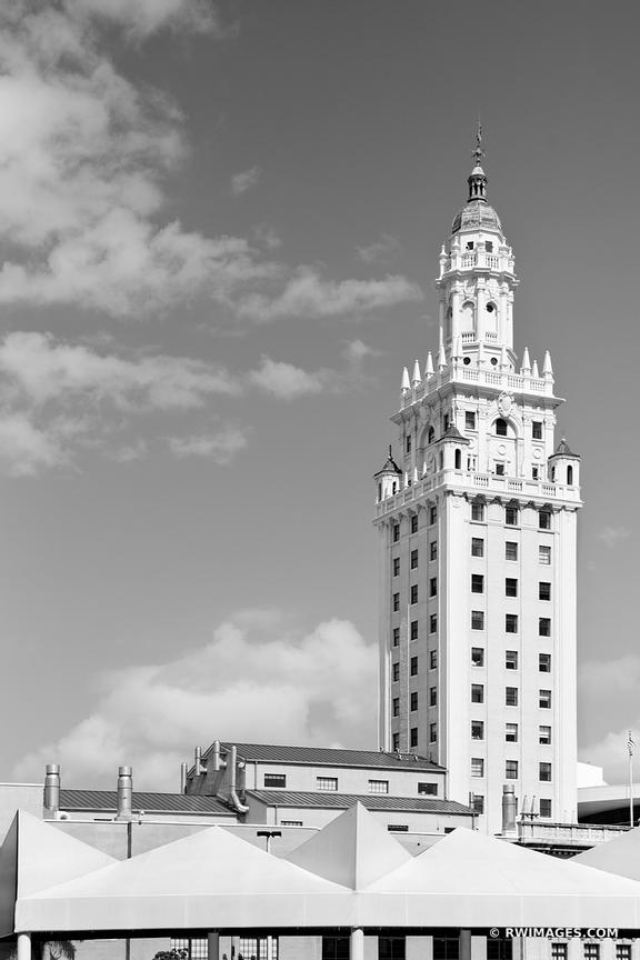 FREEDOM TOWER DOWNTOWN MIAMI FLORIDA BLACK AND WHITE